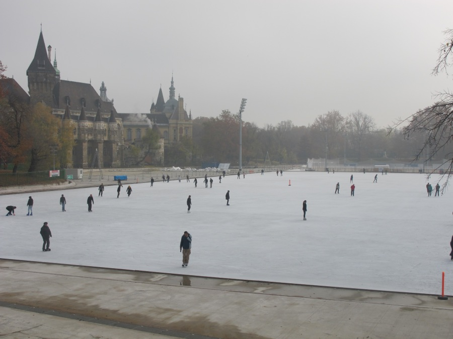 Ice Skaters enjoy the rink near Heroes' Square.