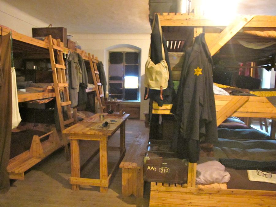 A recreation of typical living quarters for Jews.