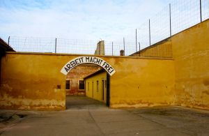 """Work Makes You Free."" The sign at the Gestapo prison."
