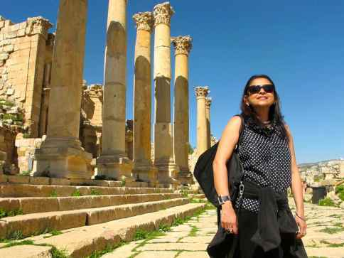 At the Roman ruins in Jerash, Jordan.
