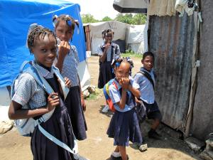 It was wonderful to see children going back o school in Port-au-Prince.