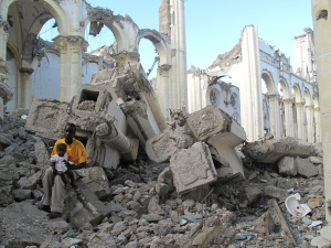 I spoke with this man in the rubble of the cathedral. He said he lost everything, including his wife.