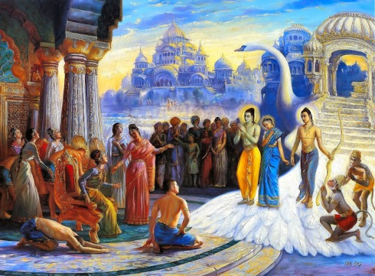 The return of Rama, Sita and Lakshmana to Ayodhya. (From Ramayana online).