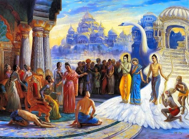 The return of Rama, Sita and Lakshmana to Ayodhya. (From Ramayana online).